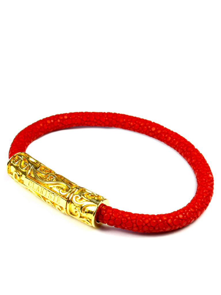Men's Red Stingray Bracelet with Gold Lock