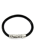 Women's Black Stingray Bracelet with Silver Lock | Clariste Jewelry - 2