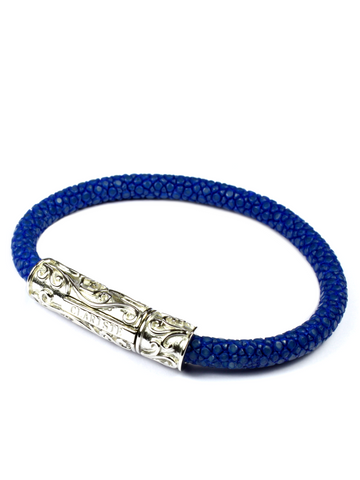Men's Blue Stingray Bracelet with Silver Lock
