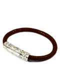 Men's Brown Stingray Bracelet with Silver Lock | Clariste Jewelry