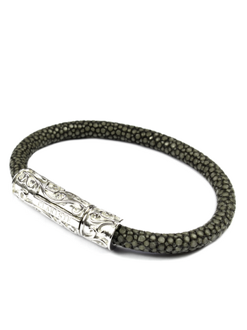 Men's Grey Stingray Bracelet with Silver Lock