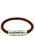 Men's Brown Stingray Bracelet with Silver Lock | Clariste Jewelry - 4