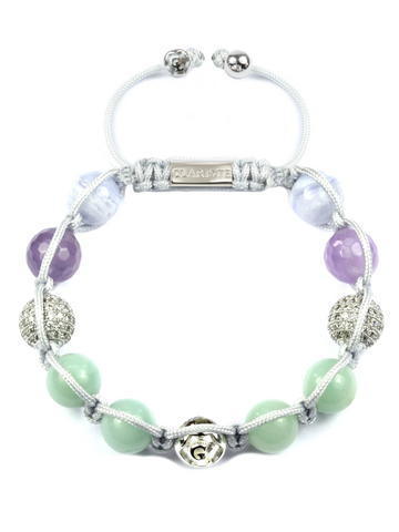 Women's Beaded Bracelet with Amazonite, Amethyst Lavender, Blue Lace Agate and CZ Diamonds