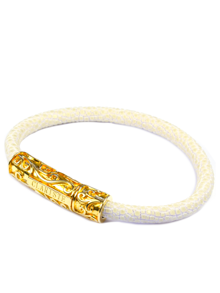 Men's White Stingray Bracelet with Gold Lock