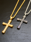 Men's Necklace with Twisted Cross Gold