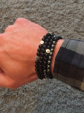 Men's Double Beaded Bracelet with Matte Onyx, CZ Diamonds and Silver | Clariste Jewelry - 3