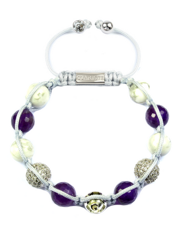Women's Beaded Bracelet with Amethyst, Howlite and CZ Diamonds