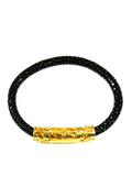 Men's Black Stingray Bracelet with Gold Lock | Clariste Jewelry - 2