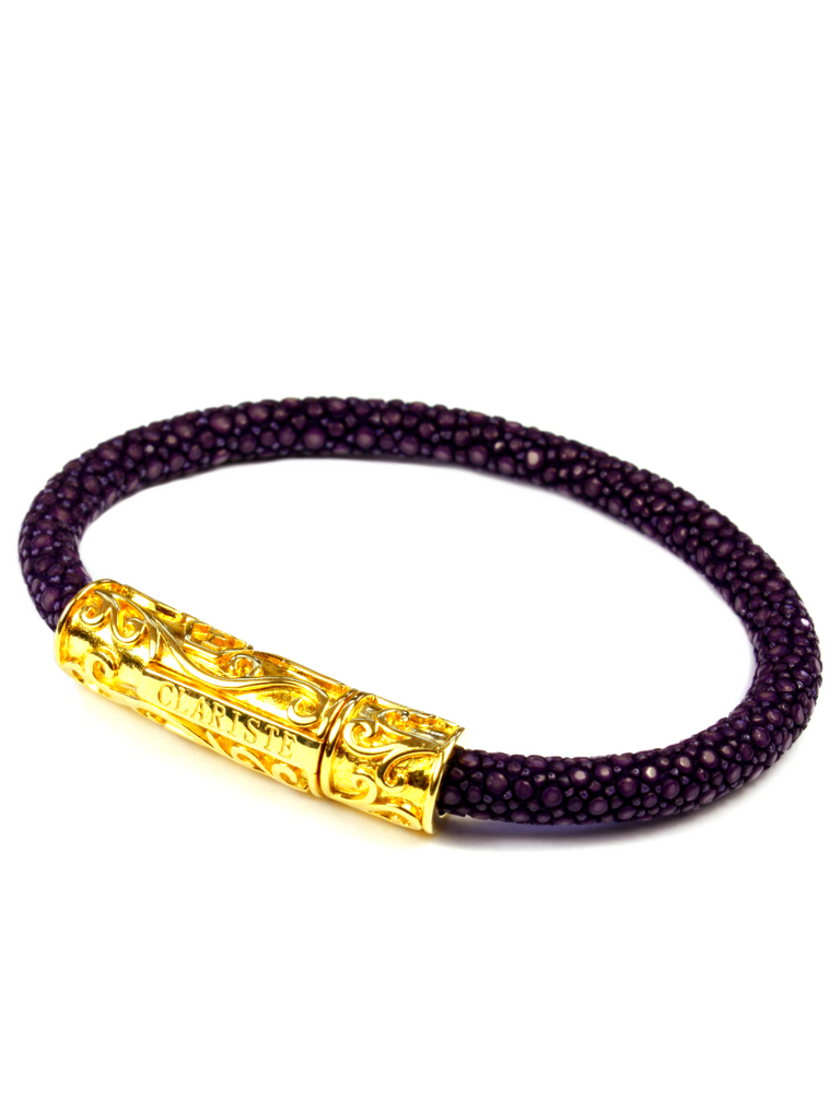Women's Purple Stingray Bracelet with Gold Lock