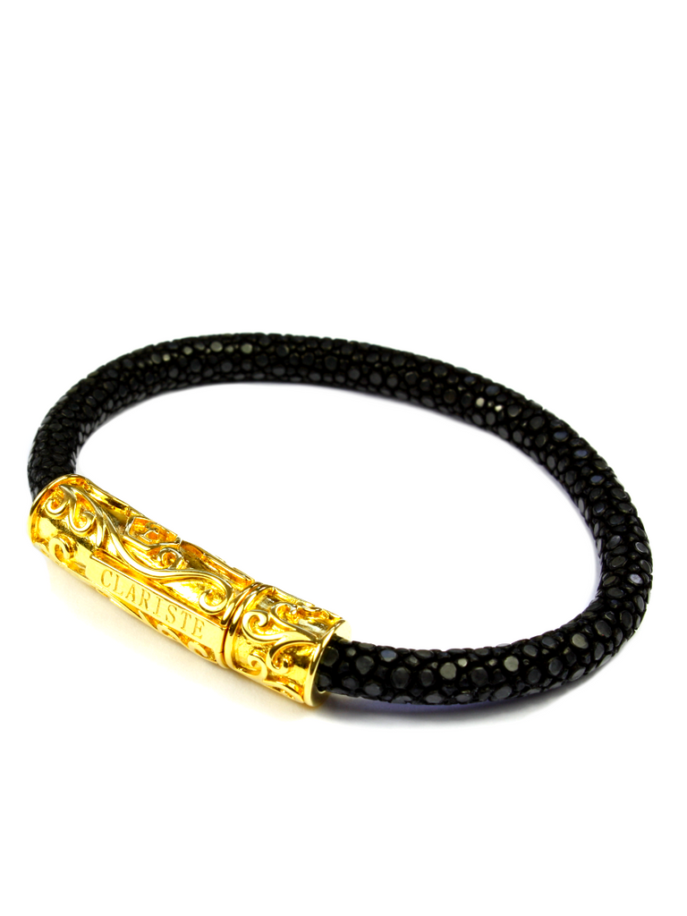 Men's Black Stingray Bracelet with Gold Lock