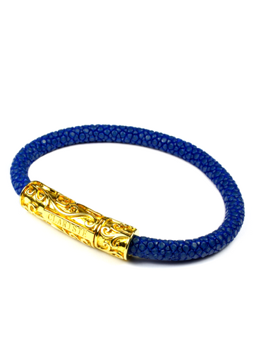 Men's Blue Stingray Bracelet with Gold Lock
