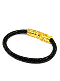 Women's Black Stingray Bracelet with Gold Lock | Clariste Jewelry - 3