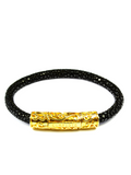 Men's Black Stingray Bracelet with Gold Lock | Clariste Jewelry - 4