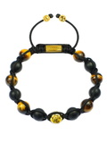 Men's Beaded Bracelet with Matte Onyx, Brown Tiger Eye and Gold | Clariste Jewelry