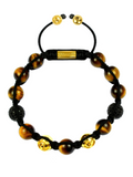 Men's Beaded Bracelet with Brown Tiger Eye and CZ Diamonds | Clariste Jewelry
