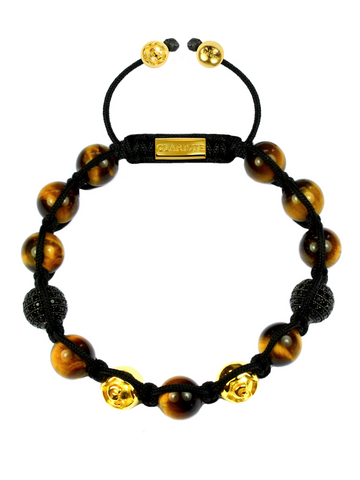 Men's Beaded Bracelet with Brown Tiger Eye and CZ Diamonds