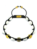 Men's Beaded Bracelet with Howlite and CZ Diamond, Gold | Clariste Jewelry