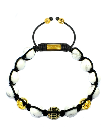 Men's Beaded Bracelet with Howlite and CZ Diamond, Gold