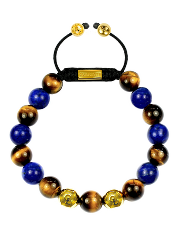 Men's Beaded Bracelet with Blue Lapis and Brown Tiger Eye