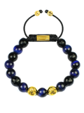 Men's Beaded Bracelet with Blue Tiger Eye and Black Agate | Clariste Jewelry