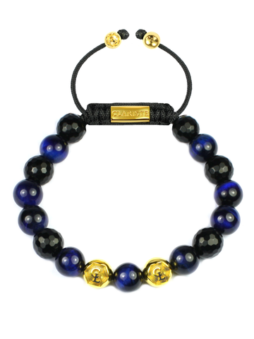 Men's Beaded Bracelet with Blue Tiger Eye and Black Agate
