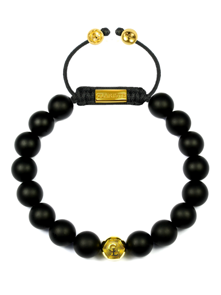 Men's Beaded Bracelet with Matte Onyx and Gold