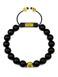 Men's Beaded Bracelet with Matte Onyx and Gold | Clariste Jewelry