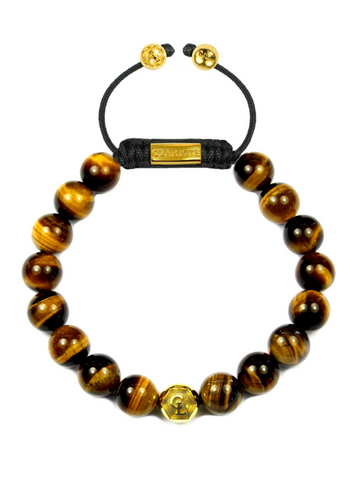 Men's Beaded Bracelet with Brown Tiger Eye and Gold