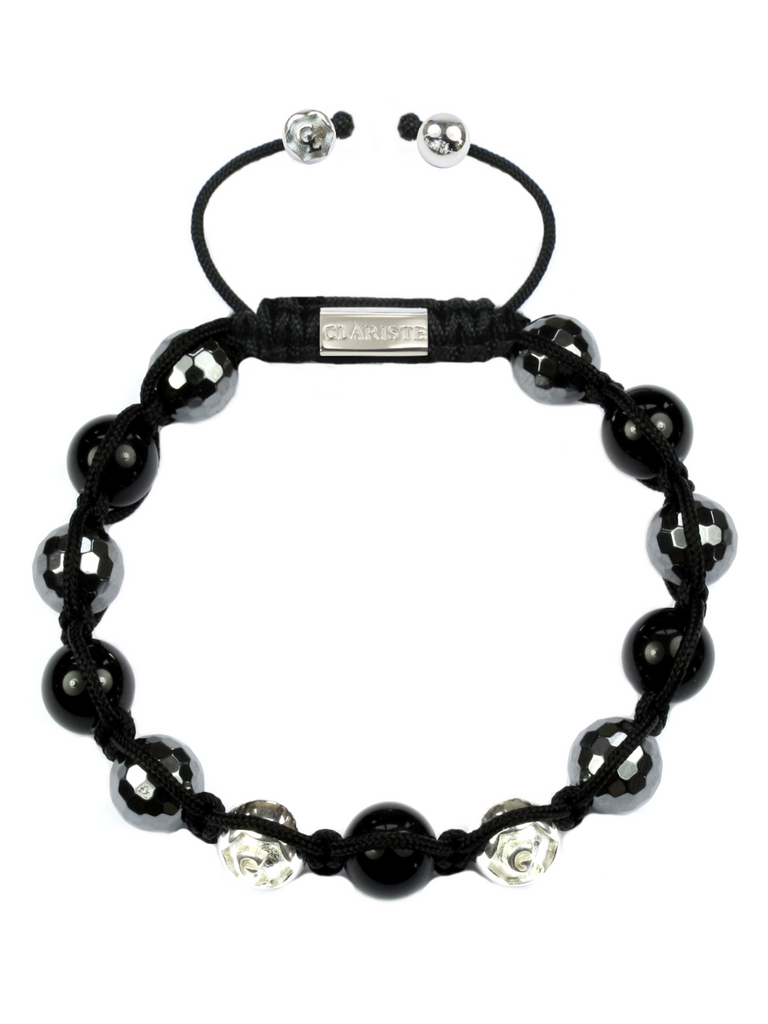 Men's Beaded Bracelet with Hematite and Black Agate