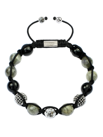 Men's Beaded Bracelet with Labradorite and Black Agate