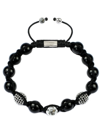 Men's Beaded Bracelet with Black Agate and Silver