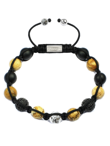 Men's Beaded Bracelet with Jasper, Matte Onyx and CZ Diamonds
