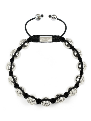 Men's Beaded Bracelet with Clariste Beads Silver