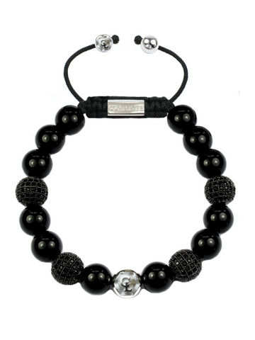 Men's Beaded Bracelet with Black Agate and CZ Diamonds