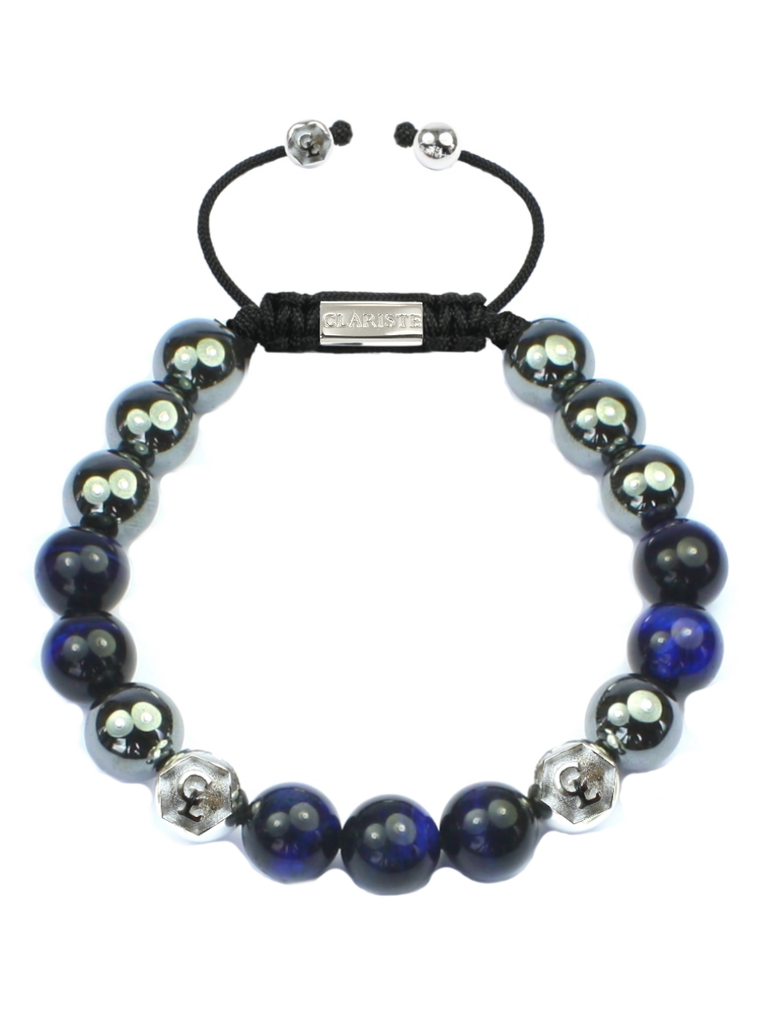 Men's Beaded Bracelet with Blue Tiger Eye and Hematite