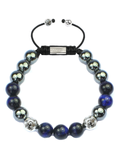 Men's Beaded Bracelet with Blue Tiger Eye and Hematite | Clariste Jewelry