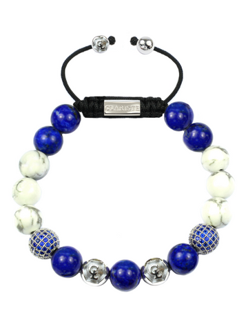 Men's Beaded Bracelet with Blue Lapis, Howlite and CZ Diamonds