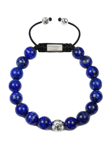 Men's Beaded Bracelet with Blue Lapis and Silver