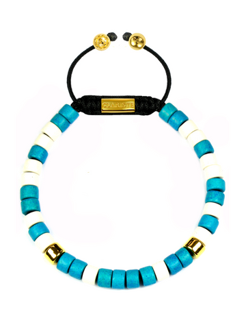 Men's Ceramic Bead Bracelet Turquoise, White and Gold