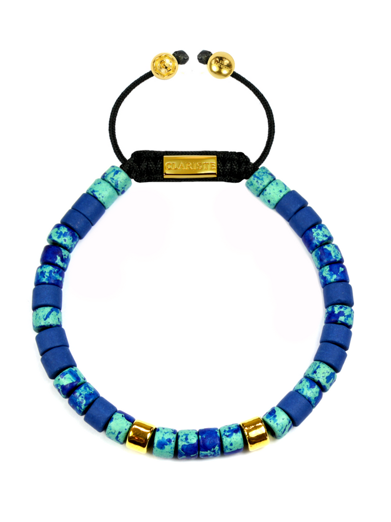 Men's Ceramic Bead Bracelet Turquoise, Blue and Gold