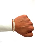 Men's Ceramic Bead Bracelet White and Gold | Clariste Jewelry - 2