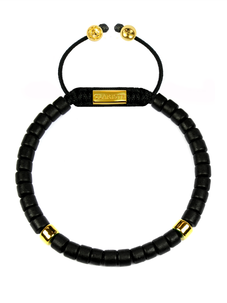 Men's Ceramic Bead Bracelet Black and Gold