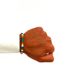Men's Ceramic Bead Bracelet Green, Red, Blue and White | Clariste Jewelry - 2