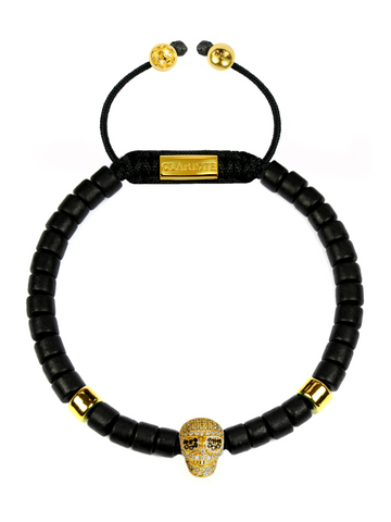 Men's Ceramic Bead Bracelet Black with Gold Skull