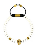 Men's Ceramic Bead Bracelet White with Gold Skull | Clariste Jewelry