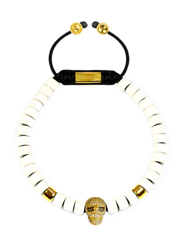 Men's Ceramic Bead Bracelet White with Gold Skull