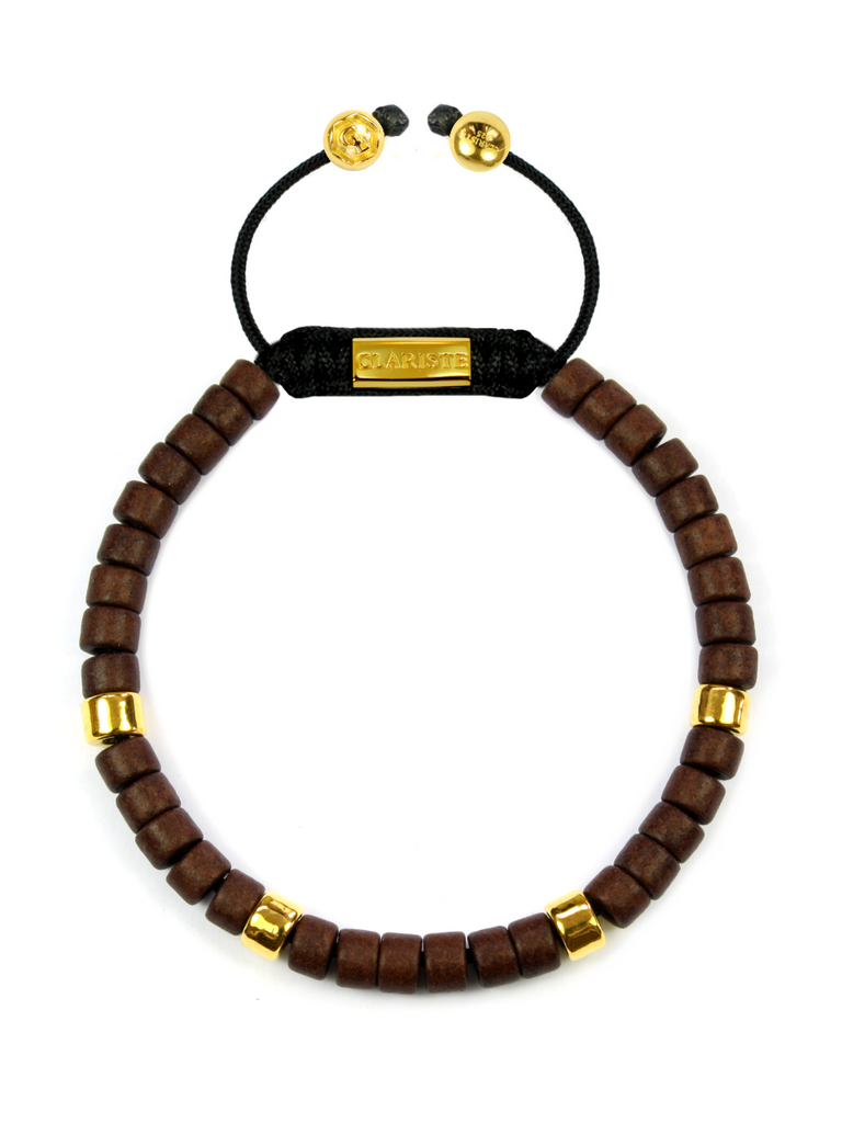 Men's Ceramic Bead Bracelet Brown and Gold