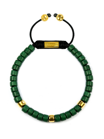 Men's Ceramic Bead Bracelet Green and Gold