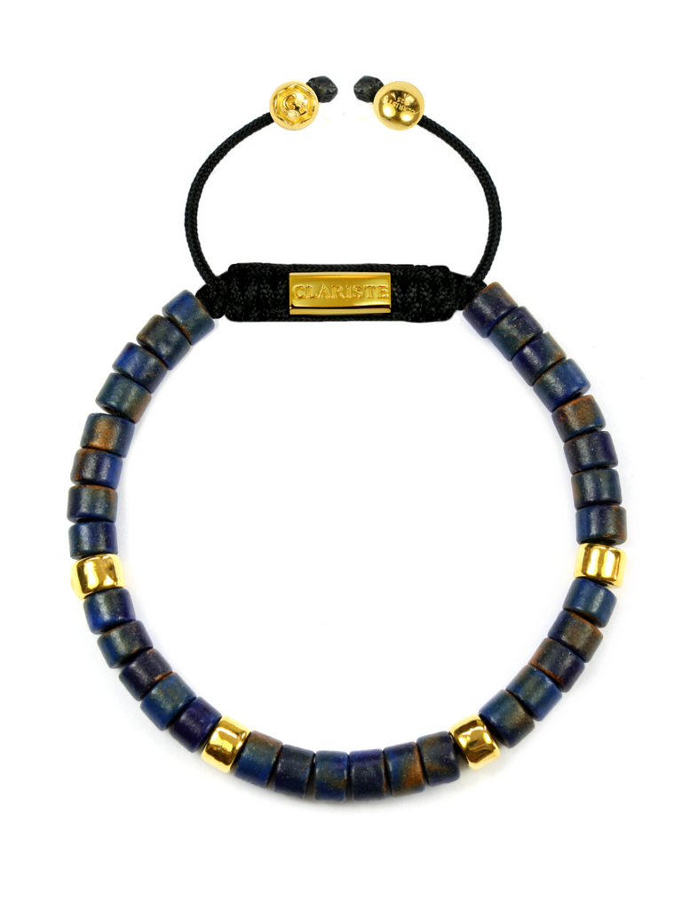 Men's Ceramic Bead Bracelet Dark Blue and Gold