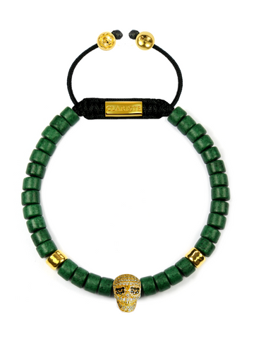 Men's Ceramic Bead Bracelet Green with Gold Skull